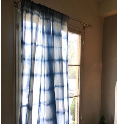 Shibori curtains with square grid