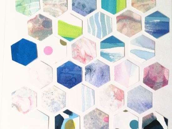 hexagon collage shapes