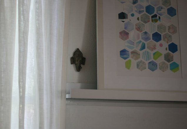 Modern hexagon collage DIY and linen curtain panels.