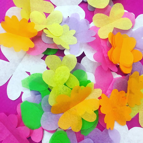 Paper flowers for lei making