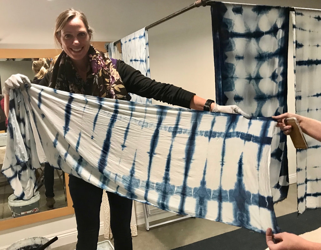 White and blue indigo shibori pattern scarf