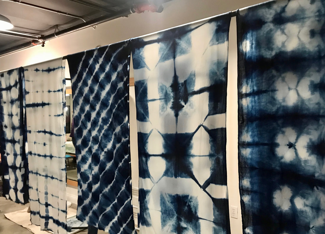 Indigo shibori scarves workshop