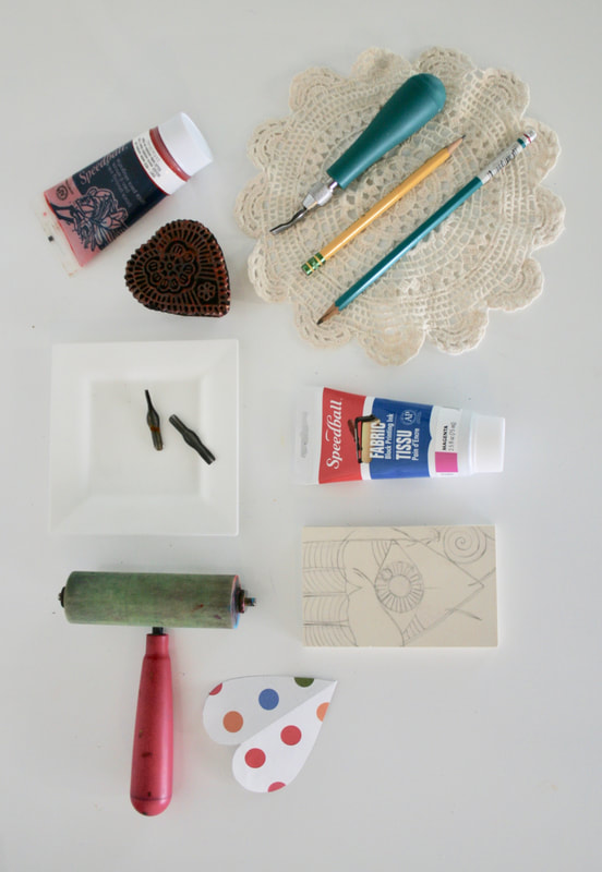 DIY Valentine's cards lino-cut printmaking supplies