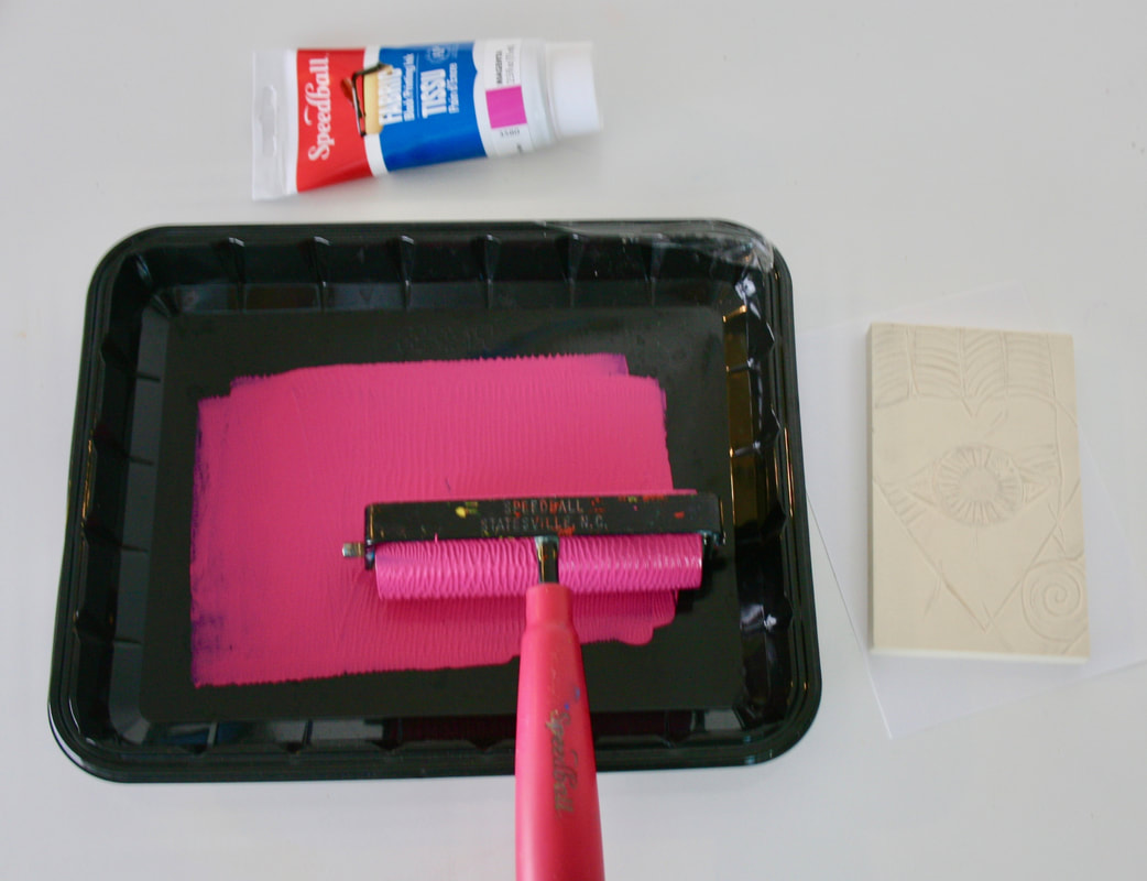 Covering the brayer with ink