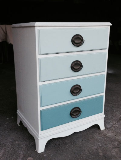 Ombre Nightstand in Blue Lagoon by Benjamin Moore
