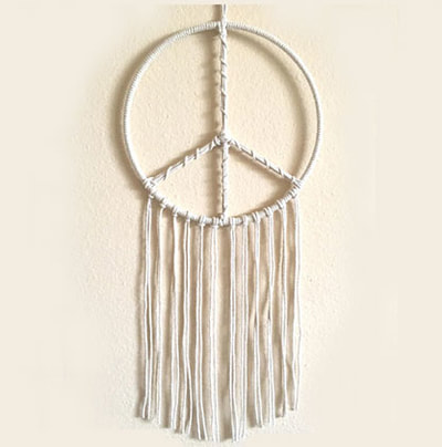 Peace sign macrame wall hanging