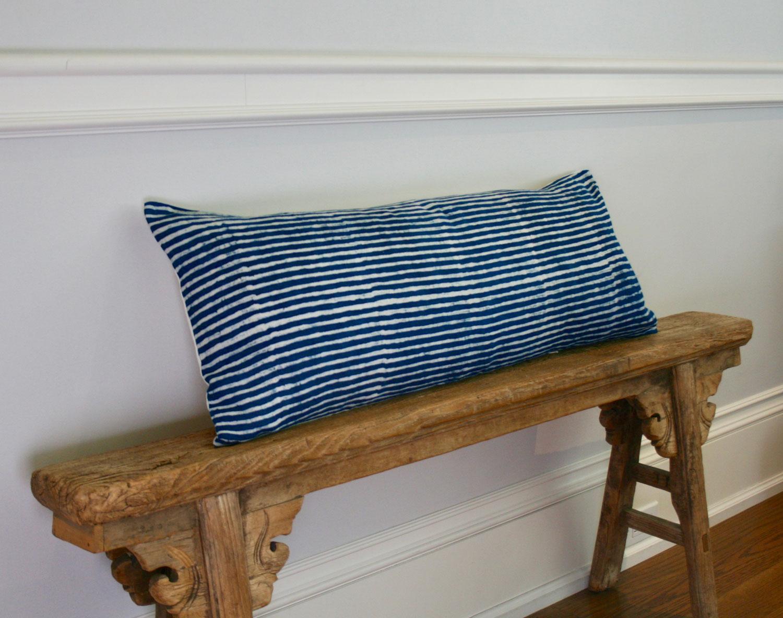 Fantastic Indigo batik long lumbar pillow- stripe GD89