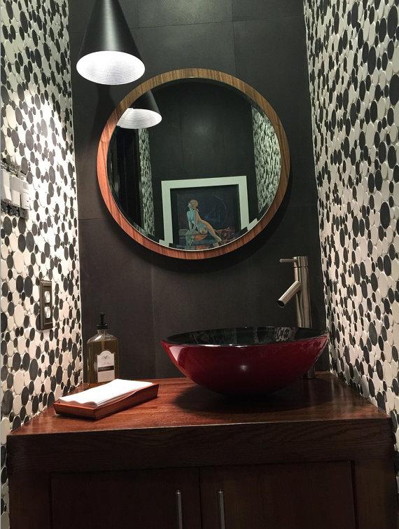 24 Quot Modern Minimal Large Round Mirror Walnut Mid Century